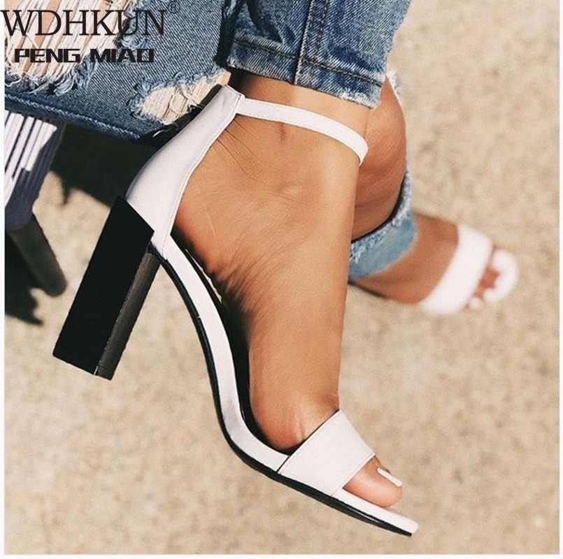 Fashion 2020 PU Women Sandals Buckle Strap Cover Heel Round Toe Square High Heels Office Ankle Shallow White Size 35-42