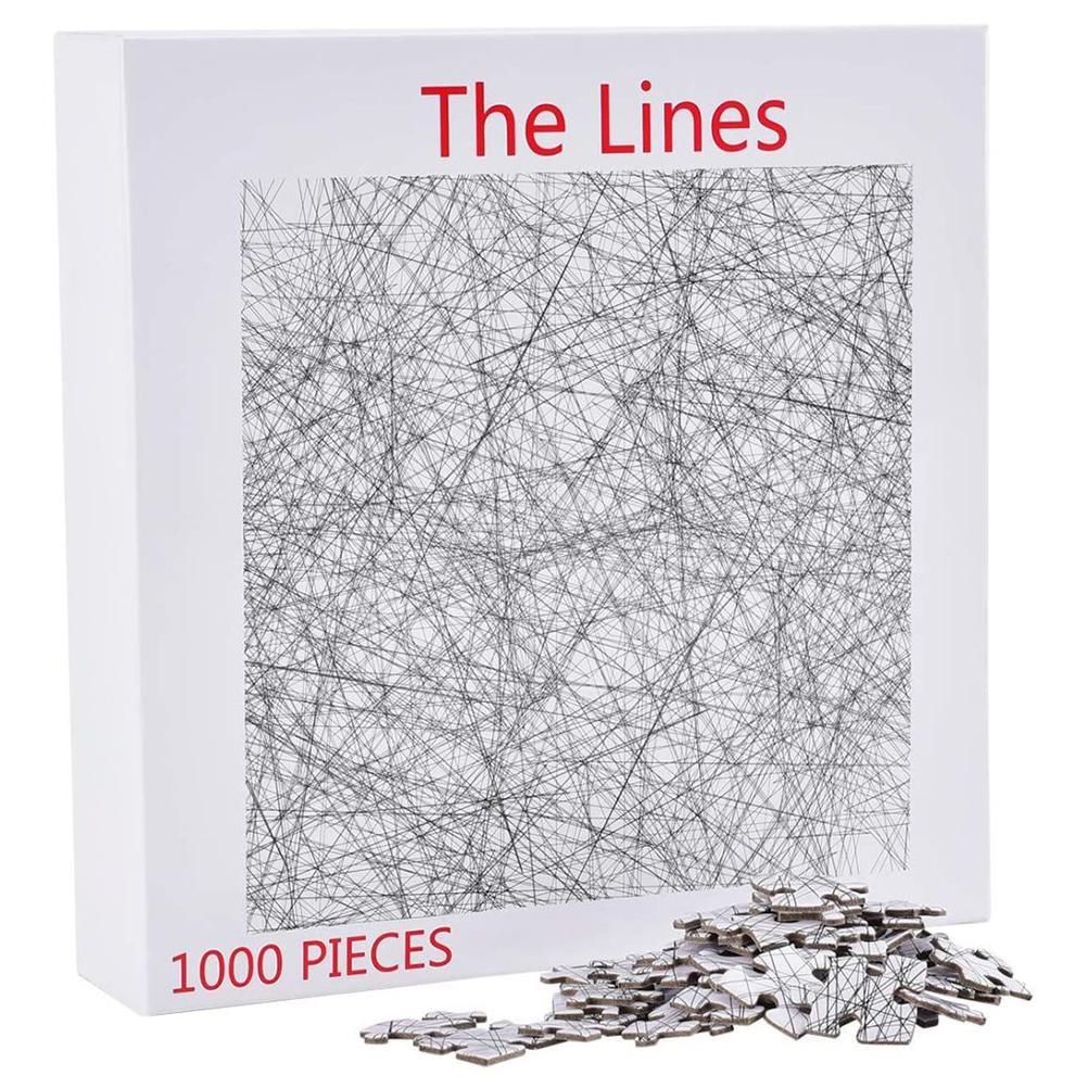 Quebra-cabeça de madeira preto branco simples desafio linha quebra-cabeça arte jogo de família diy quebra-cabeça educacional crianças brinquedo presente