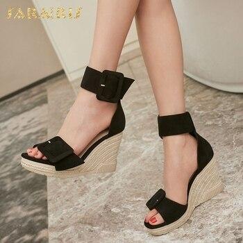 Sarairis Brand New Genuine Leather Straw Platform High Heels women's Shoes Wedges Sandals