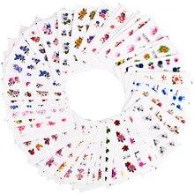 55 teile/satz Mix Blume Designs Wasser Transfer Slider Wraps Glitter Pulver Nagel Aufkleber Aufkleber Salon Dekorationen für Schönheit SABJC55