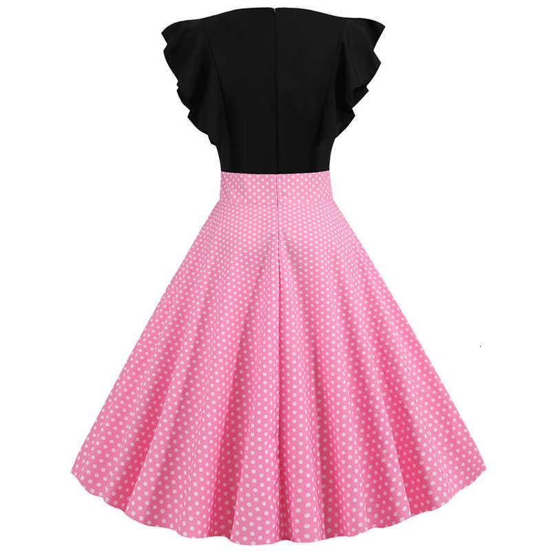 2019 חדש קיץ נשים אדום המפלגה שמלת כותרת שרוול אלגנטי טלאים מנוקדת בציר שמלת Robe Femme בתוספת גודל מקרית Vestido
