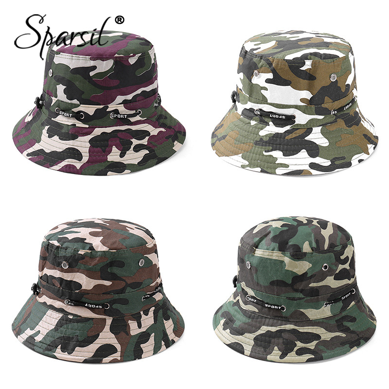 Sparsil Unisex Outdoor Camouflage Bucket Hat Double-Sided Wearable Fishing Caps Men Women Solid Fashion Sunscreen Breathable Hat