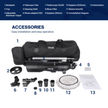 40080 Telescope with High Tripod Portable Storage Bag Phone Holder 16-133X Moon Watching Monocular Beginner Telescope