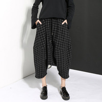 XUXI 2019 Autumn Winter New Woolen Loose Black Plaid Big Crotch Harem Wide Leg Irregular Women Pants FZ0043