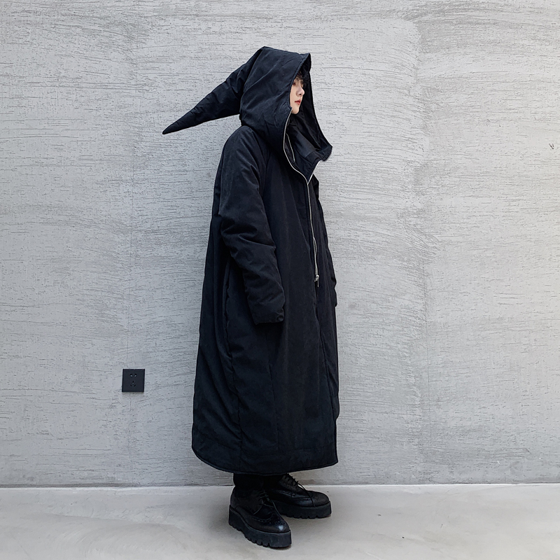 Men Asymmetry Hem Dark Black Halloween Wizard Thick Long Parka Jacket Male Women Japan Cotton Padded Hooded Coat Outerwear