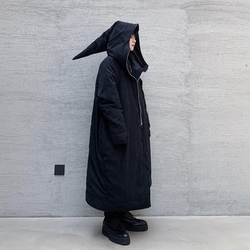 Men Asymmetry Hem Dark Black Halloween Wizard Thick Long Parka Jacket Male Women Japan Cotton Padded Hooded Coat Outerwear