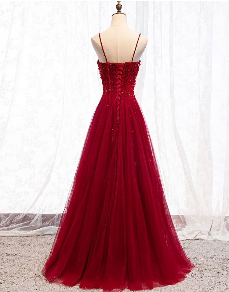 Burgundy Prom Dresses Long Beaded Sequined 2020 Spaghetti Strap A Line Tulle Evening Gowns Formal Women Elegant Walk Beside You