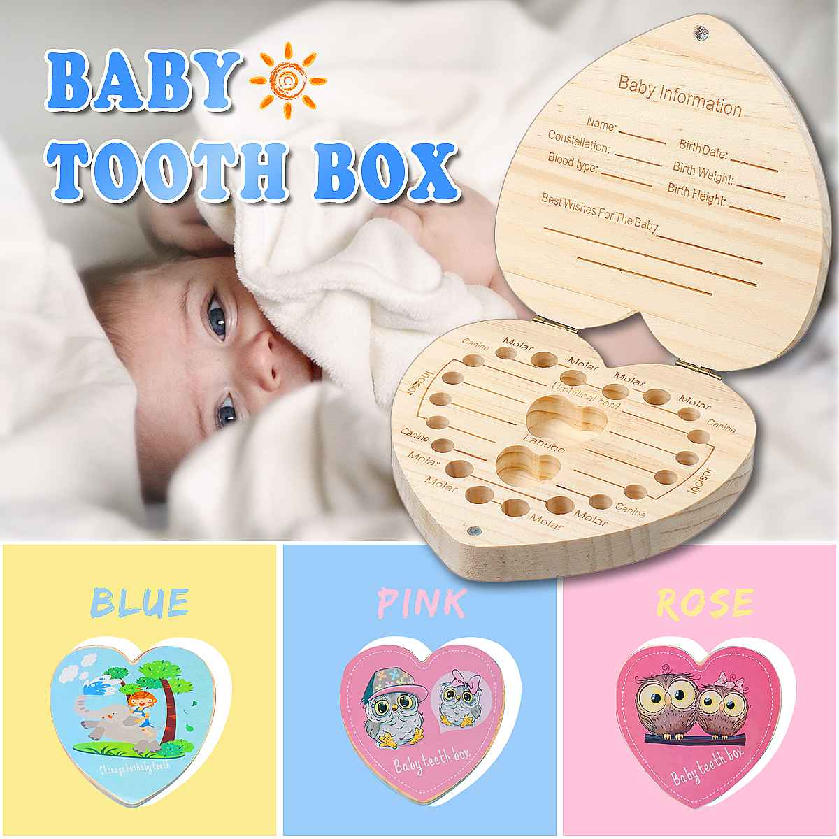 Wooden Kids Baby Tooth Box Organizer Milk Teeth Wood Storage Box Boy Girl Save Teeth First Holder Keepsake Baby Souvenirs Gift