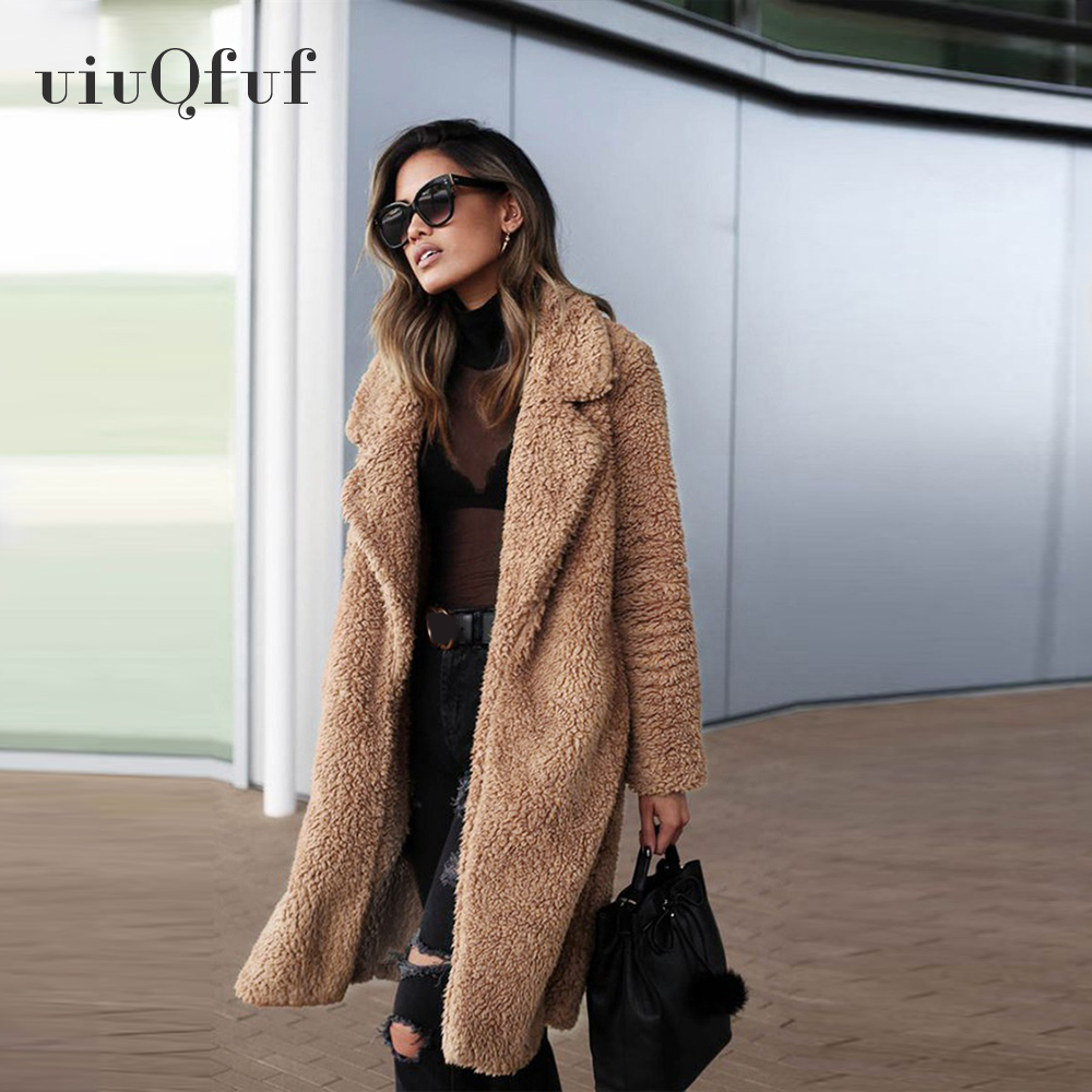Winter Fashion Female Long Section Imitation Water Mane Fur Coat Slim Slimming Long Sleeves Fur Teddy Coat