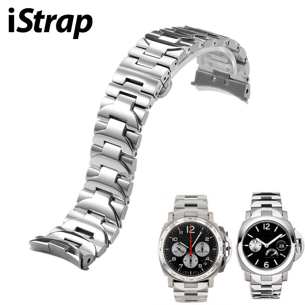 iStrap 24mm 316L Stainless Steel Watch Band Silver Double Push Clasp For Panerai Luminor Man Style