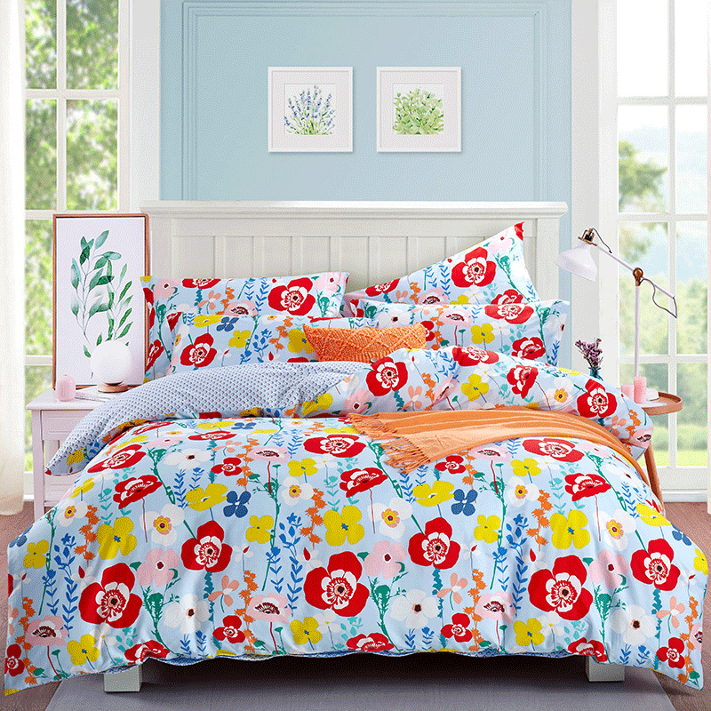 Dohia Korean Style Pastoral Style Bedding Article Cotton Pure Cotton Romantic Flower Four-piece Bed Sheet Set Manufacturers Dire