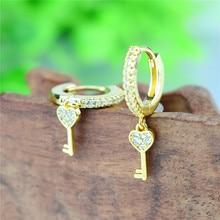 2020 Trend Mode Cubic Zirkon Schloss und Schlüssel Ohrringe Clssic Gold Cololr Liebe Hoop Ohrringe für Frauen Hochzeit Schmuck