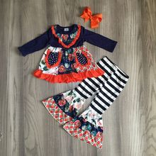 Осенняя одежда для маленьких девочек, цветочный Комплект для девочек, штаны с колокольчиком, эксклюзивная одежда для малышей с бантом