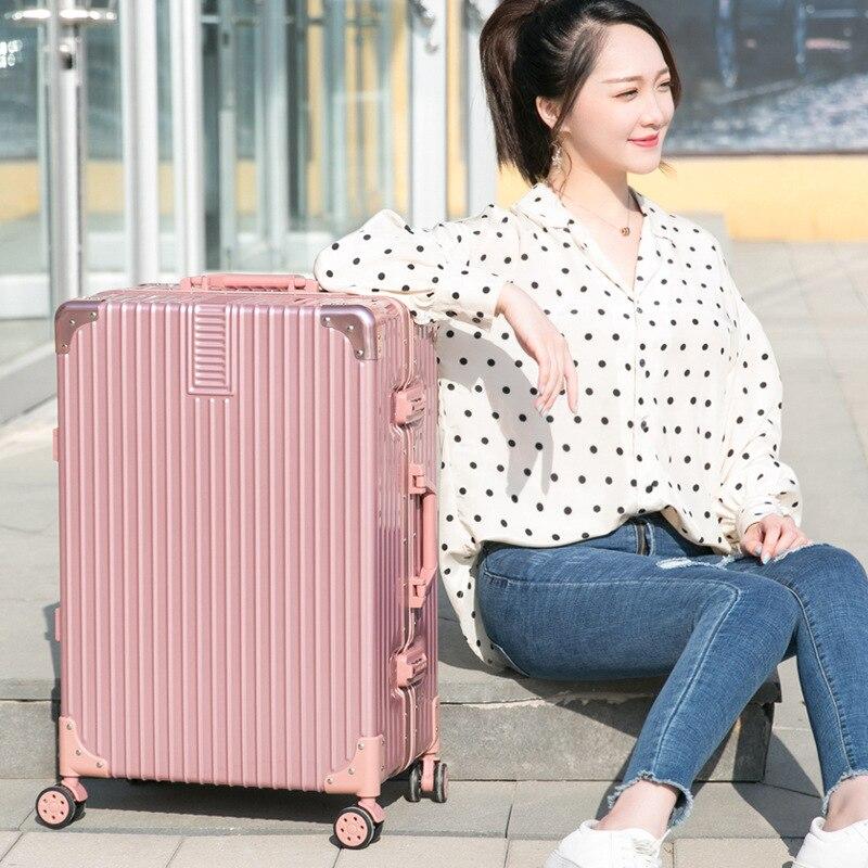 Новый стиль чемодан на колесиках для путешествий из алюминиевого сплава Универсальный колеса с выдвижной ручкой, размером 24 дюйма, сумка Алюминий кожаный чемодан для путешествий Lugguge Для женщин Чемодан