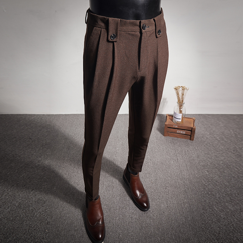 Brown Men's Trousers Business Wedding Party Slim Men Pants Fashion Casual Pant Black, Grey Size 28-36