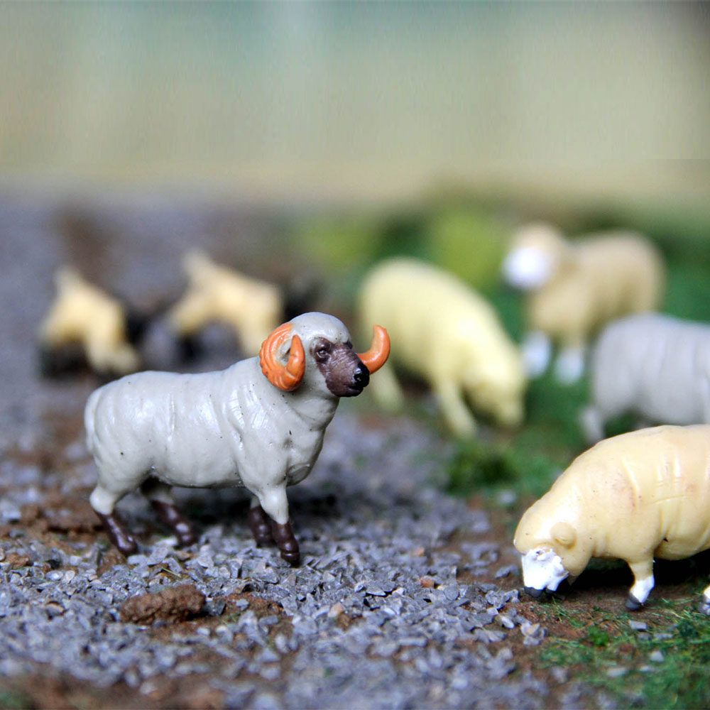 Farm Animal Model-like Construction Train Toy 1/64 Sheep Simulation Sand Table Landscape Set Of 10pcs Diorama Mini Animal