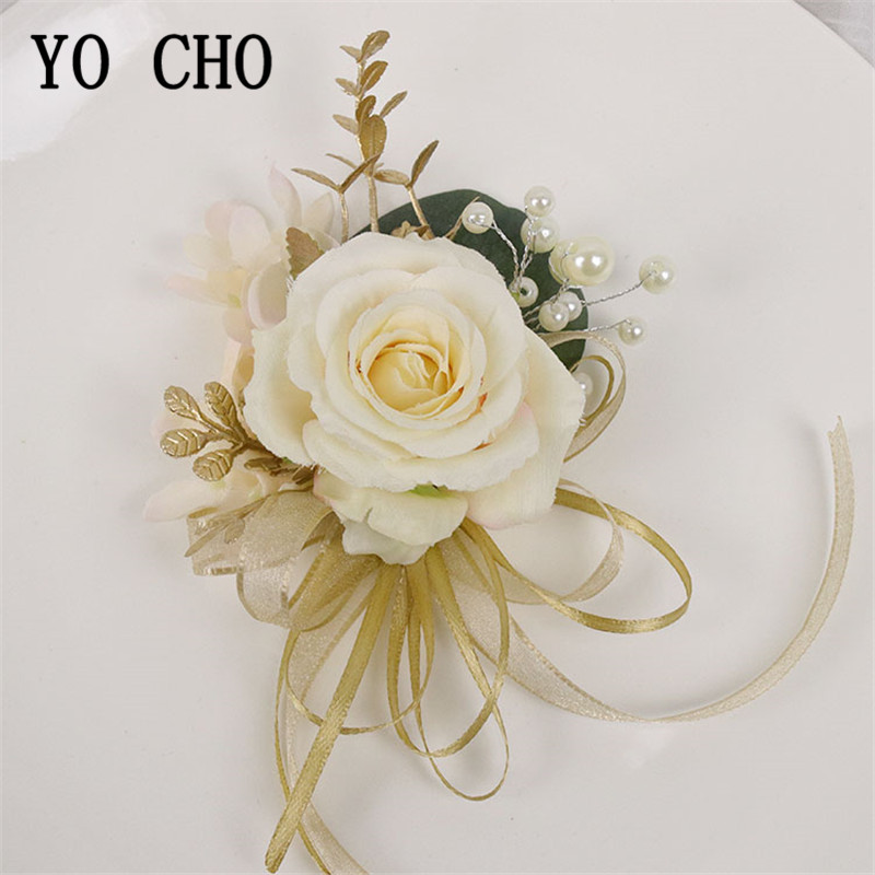 YO CHO Boutonniere For Groomsmen Bride Wrist Corsage Groom Boutonniere Artificial Rose Fake Pearl Crystal Wedding Planner Flower