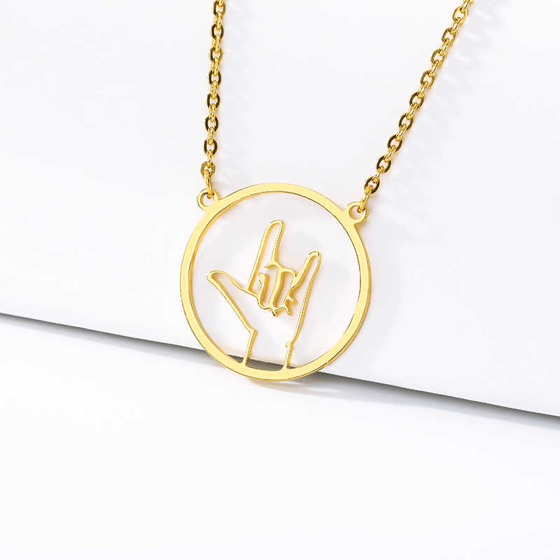 Sign Language Sister Best Friends Necklace Gold Chain I Love You Hand Gestures Choker Necklace Women Collares Friendship Jewelry