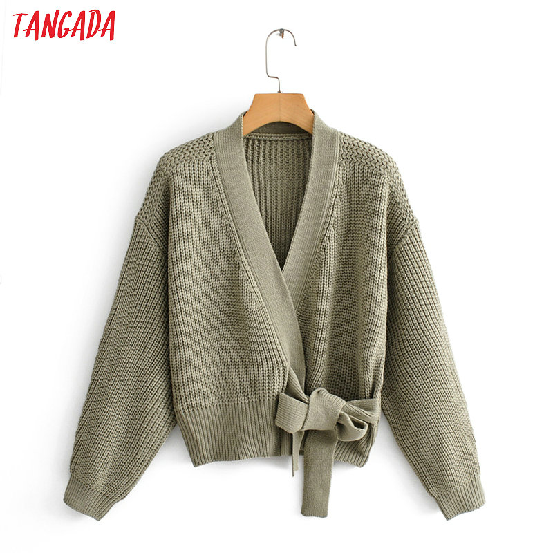 Tangada Women Elegant Solid Cardigan Vintage Jumper With Belt Lady Fashion Oversized Knitted Cardigan Coat QJ137