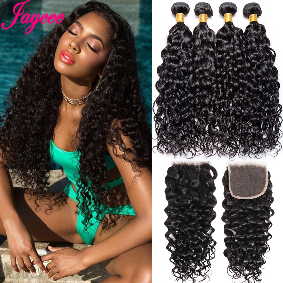 Jaycee Hair Water Wave Bundles With Closure Brazilian Hair Weave Bundles With Closure Remy Human Hair 3 Bundles With Closure