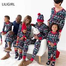 Семейный рождественский пижамный комплект, одежда для папы, мамы и ребенка свитер с принтом+ штаны, комплект одинаковой одежды для семьи из 2 предметов