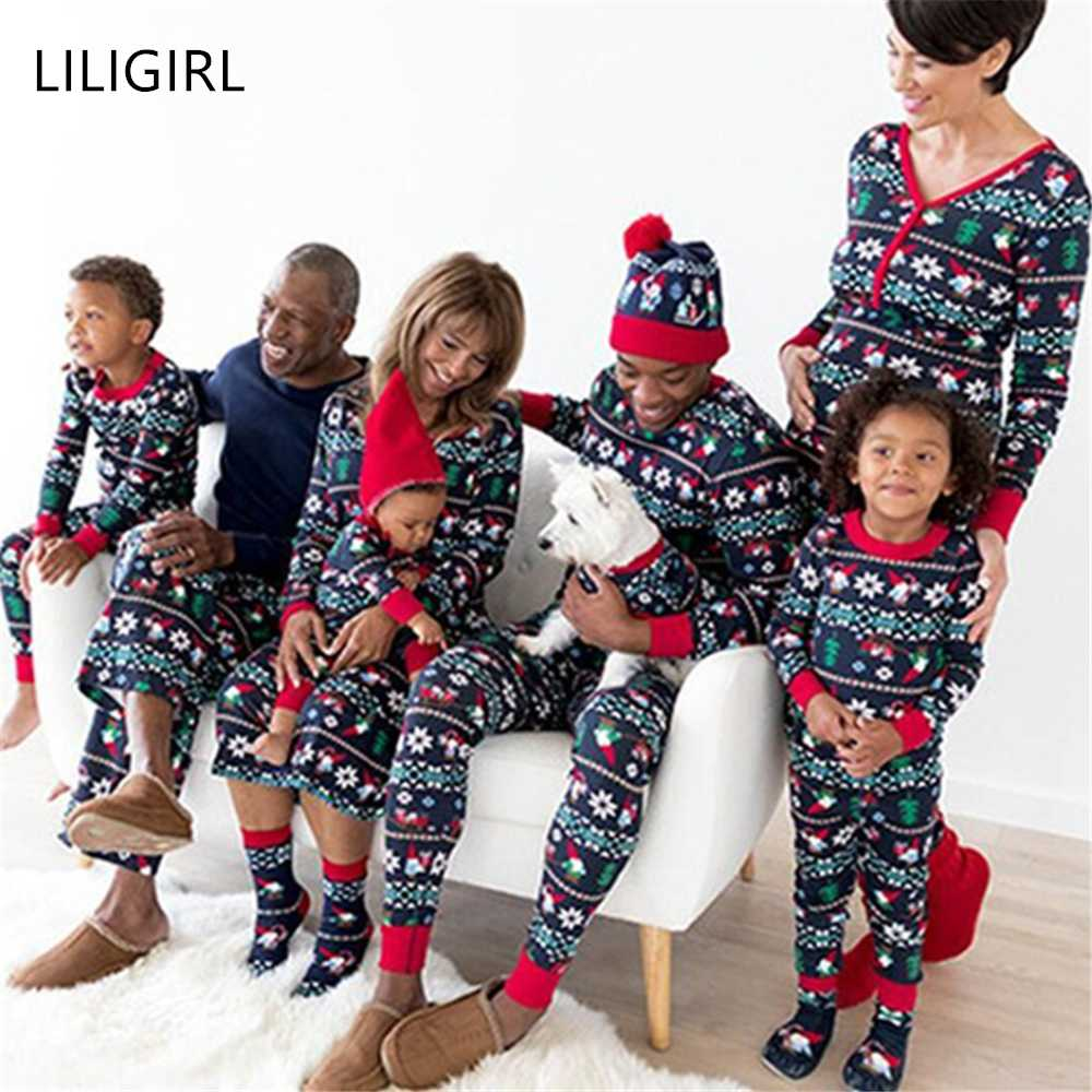 Family New Christmas Pajamas Set Father Mom And Baby Kid Clothes Print Sweatershirt+Pants 2pcs Family Matching Clothing Outfit