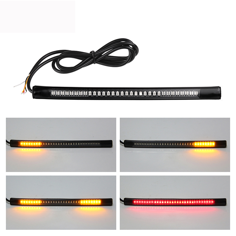2019 48-LED Motorcycle Light Bar Strip Flexible Tail Brake Stop Turn Signal Lights License Plate Light 3528 SMD Red Amber Color