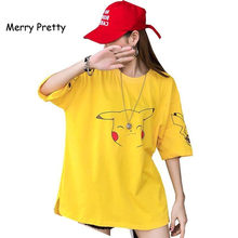 Neue Pokemon Cartoon-Muster T Shirts Frauen Kawaii Pikachu Print Sommer Lose Top Mädchen Street Fashion Hip Hop Lange Tees plus 2XL(China)