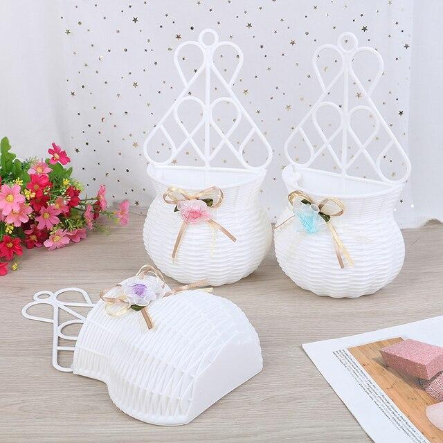 Artificial Flower Hanging Basket Vase Rattan Wall Hanging Small Artificial Rattan Flower Basket For Home Decoration Color Random 5