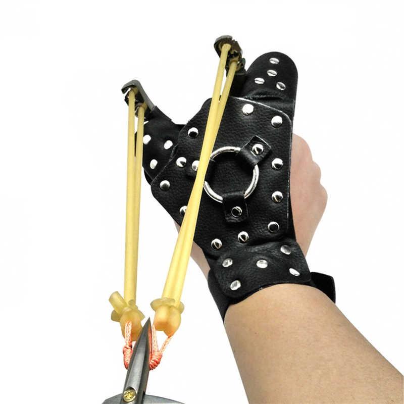 パチンコハンドガードプロテクターのためパチンコ左手安全手袋鋼着脱可能な保護アーチェリー射撃狩猟