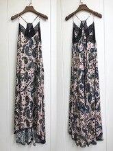 Femmes robe 100% Viscose romantique imprimé cajou imprimé licou dentelle robe Midi