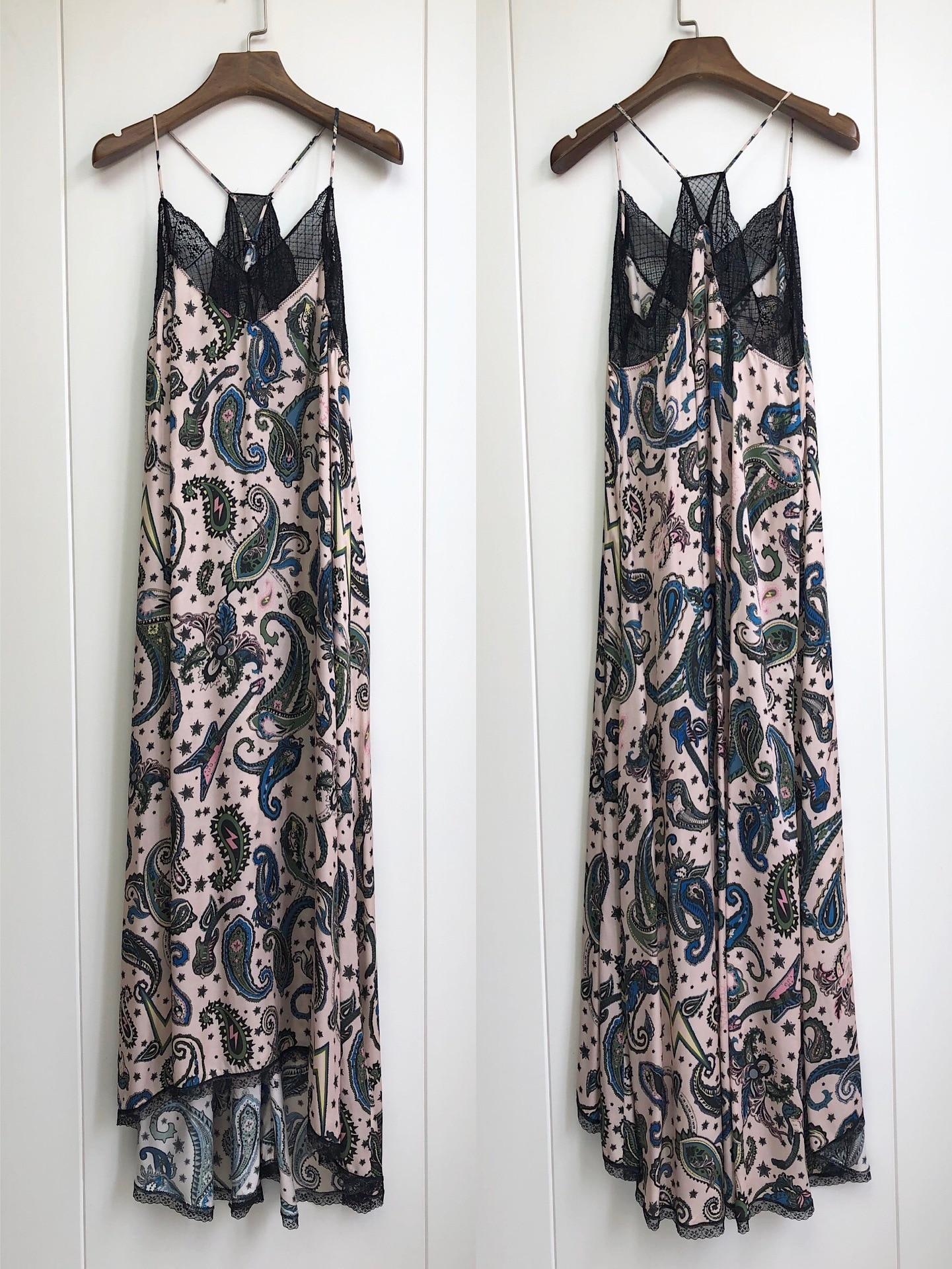 Women Dress 100% Viscose  Romantic Print Cashew Printed Halter Lace Midi DressDresses