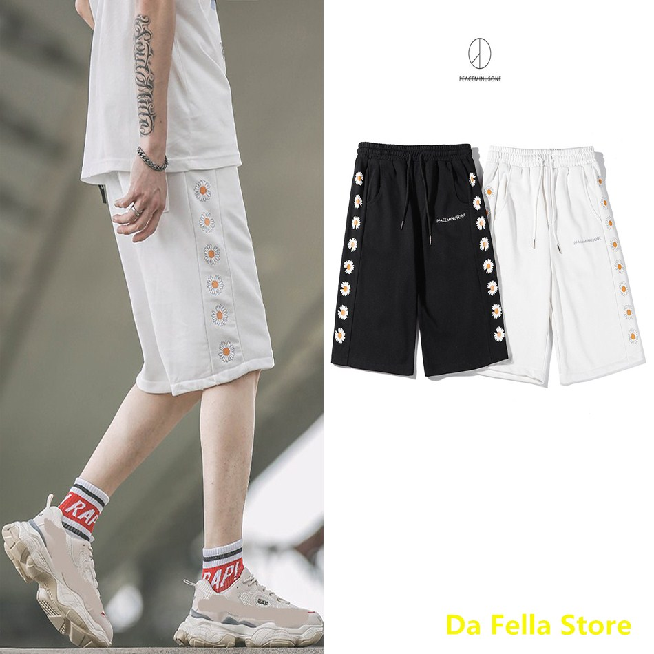 Peaceminusone Shorts 2020 Men Women Summer Streetwear Peaceminusone Shorts Black/White Side Daisy Logo Breechcloth High Quality