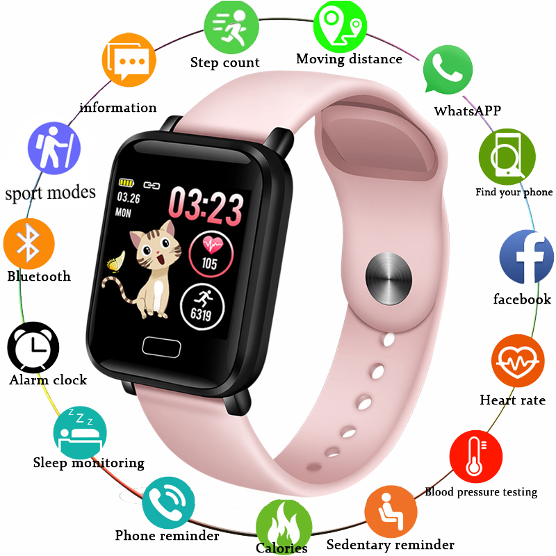 LIGE Smart watches Waterproof Sports for iphone phone Smartwatch Heart Rate Monitor Blood Pressure Functions For Women men kid