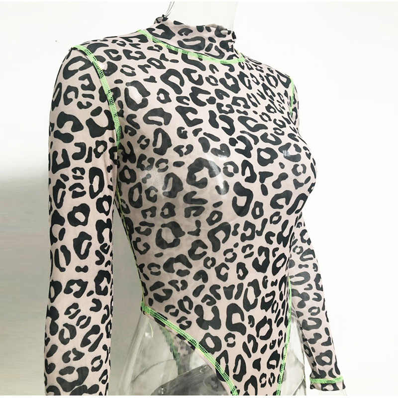 Malla Leopard Bodysuit mujer manga larga Sexy cuello alto Bodysuit verde Stripe Patckwork Animal Print overoles Body Femme camisetas