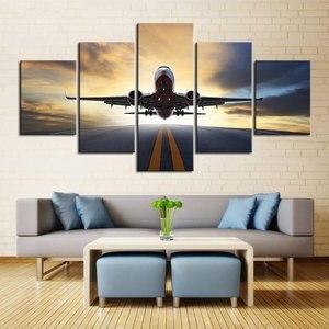 Embelish 5 шт., огни заката, самолет, газон, HD, холст, картина, настенное искусство, самолет, постеры, домашний декор, картины для гостиной