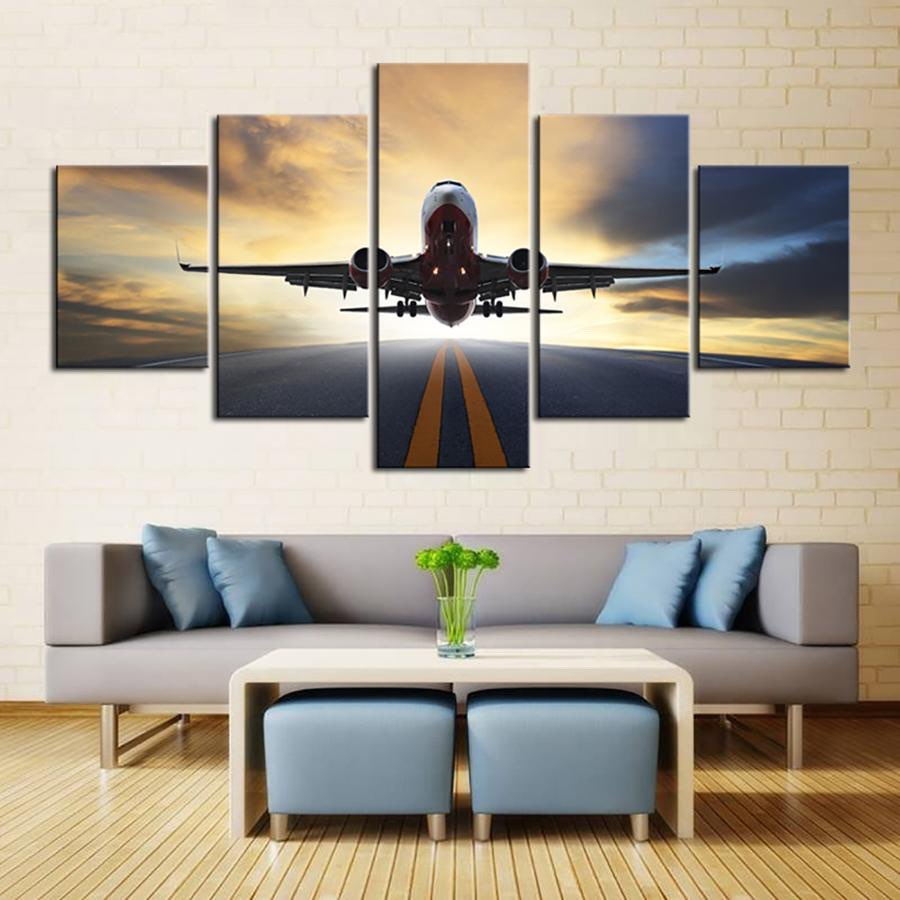 Embelish 5 Pieces Sunset Lights Airplane Lawn HD Canvas Painting Wall Art Aircraft Posters Home Decor Pictures For Living Room image