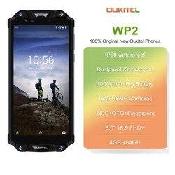 OUKITEL WP2 IP68 Водонепроницаемый смартфон 6,0 дюйм18:9 MT6750T, четыре ядра, 4 Гб Оперативная память 64 Гб Встроенная память Android 8,0 10000 мАч отпечатков пальцев ...
