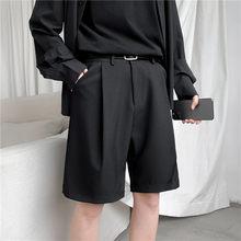 Pantalones cortos coreanos de Corte recto para hombre, traje hasta la rodilla, sólido, Beige, negro, ropa de verano, pantalones cortos informales holgados finos para estudiante