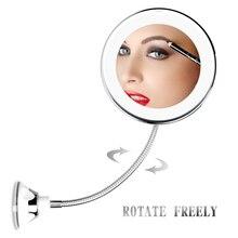 10X увеличительное зеркало со светодиодной подсветкой гибкое косметическое зеркало с светодиодный зеркальный светильник Make up espejo de maquillaje aumento 10X