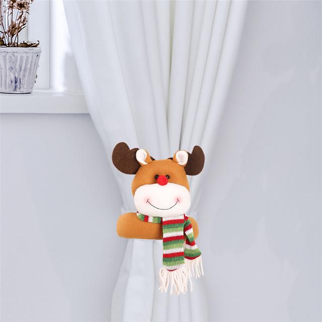 Lovely Santa Clause Snowman Curtain Buckle Christmas Decoration for Home New Year Party Decor Cloth Toys Table Decoration Dolls