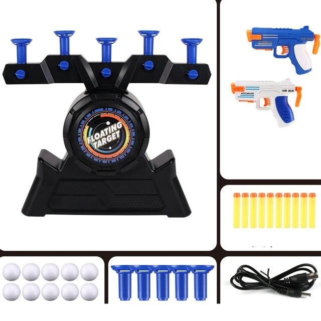1 Set Air Target Shooting Game Neutral Plastic Luminous Suspension Flying Ball Shooting Game Toy Children's Soft Bullet Gun