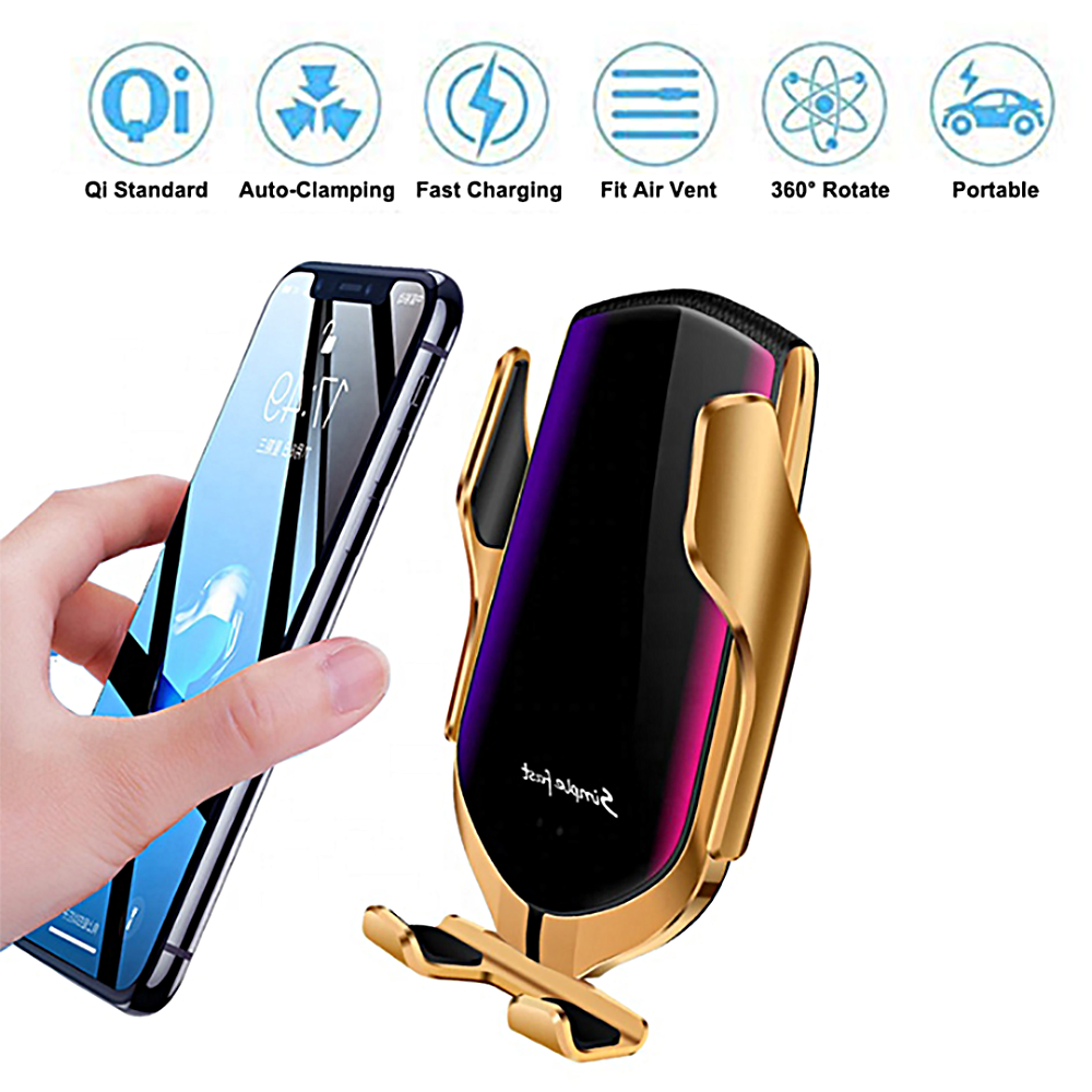 R1 Automatic Clamping Wireless Car Charger Mount 10W Qi Wireless Fast Charger Air Vent Phone Holder Magnetic For Mobile Phone title=