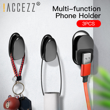 купить !ACCEZZ 1Set/3pcs Mini Magnetic Car Phone Holder & Key Hook Wall Hanging Multi-Function Bracket For Phone Home Organizer Stand дешево