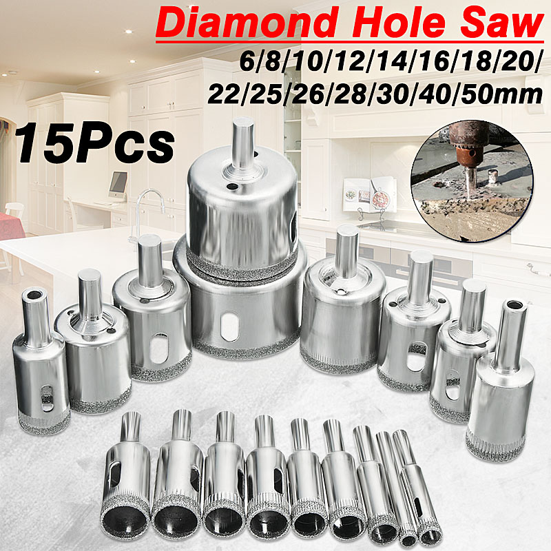 Diamond Hole Saw Drill Bit Tool 6-50mm Ceramic Porcelain Glass Marble 6/8/10/12/14/16/18/20/22/25/26/28/30/40 / 50mm