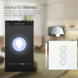 EU/UK WIFI smart dimming touch switch Tuya app control supports Alexa voice control 110V 240V home light touch sensor switch