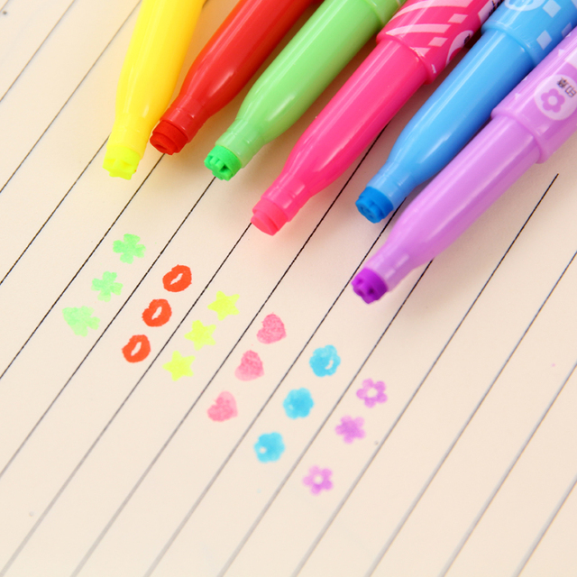 Купить 6 шт маркер со штампом ручка двухсторонний рисования лайнер картинки цена