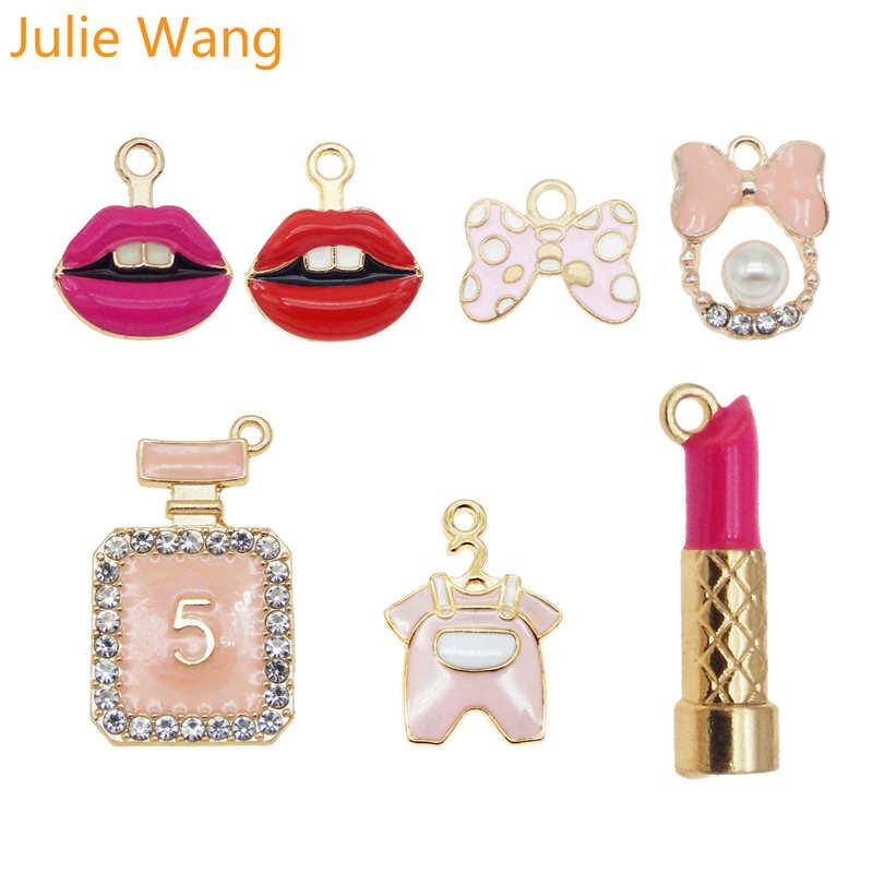 8pcs-gold tone lip stick charm-enamel lip stick Charm