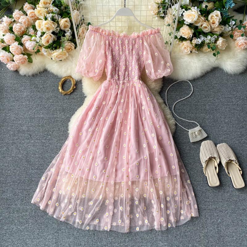 Fee Chic Sanfte Wind Kleid Weibliche 2021 Neue Stil Süße Daisy Gedruckt Mesh Lange Floral Kleid Weibliche