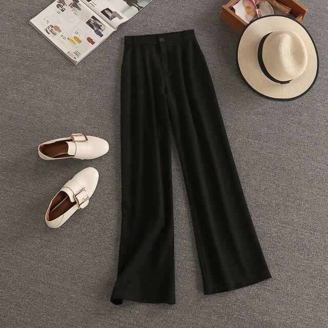Streetwear Fashion Summer Two Piece Set Women Crop Top Shirt Blouse + Wide Leg Pant Suits Vintage Jacket Coat Pants 2 Piece Set 4